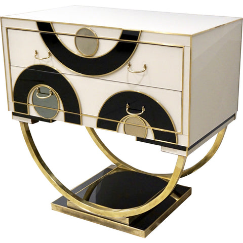 Italian Modern Pair of Geometric Black White and Brass Side Tables / Nightstands - Cosulich Interiors & Antiques