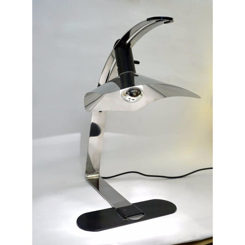 Grignani for Luci, 1970s, Italian Vintage Adjustable Black and Nickel Desk Lamp