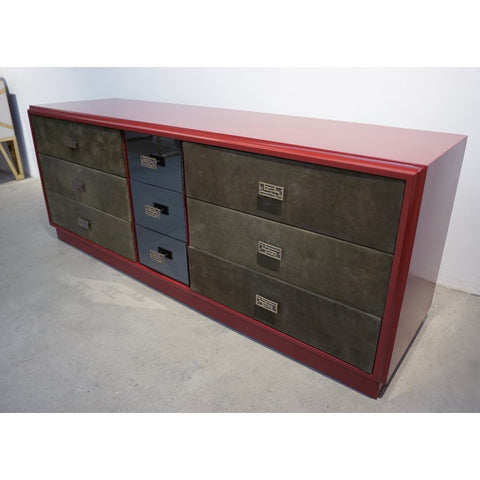 1970 Italian Green Leather Burgundy Lacquer Dresser with Mirror & Bronze Accents - Cosulich Interiors & Antiques