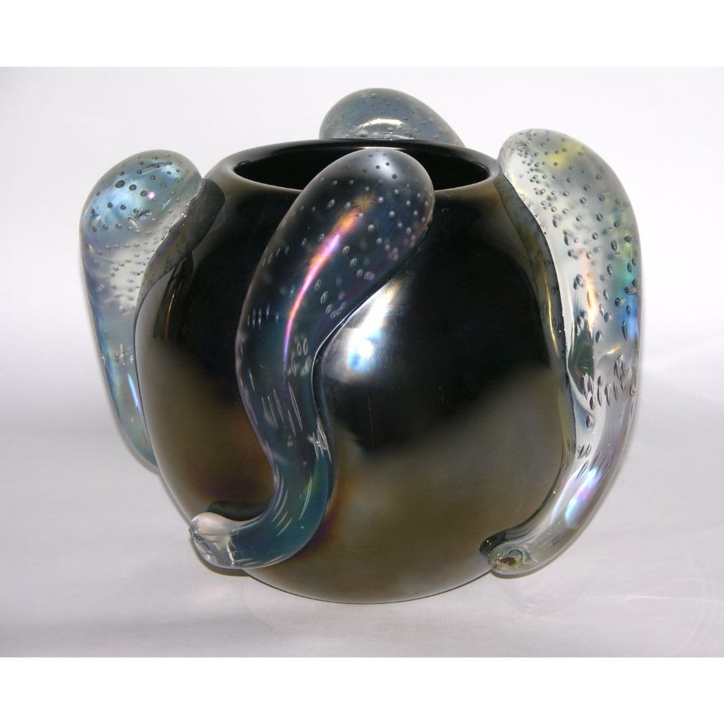 Costantini Italian Pair of Sculpture Iridescent Black Murano Glass Round Vases