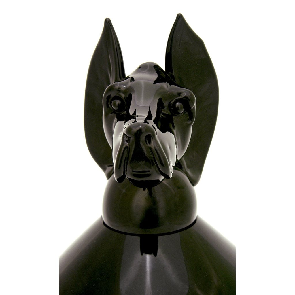Formia 2001 Italian Set of 3 Black Murano Glass Bottles with Dog Head Stopper