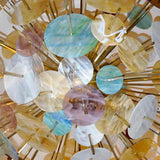 Contemporary Italian Brass & Pastel Colored Murano Glass Oval Sputnik Chandelier - Cosulich Interiors & Antiques