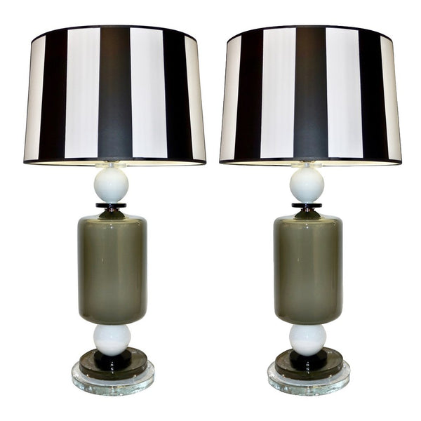 1980s Italian Geometric Pair of White Black and Silver Gray Murano Glass Lamps