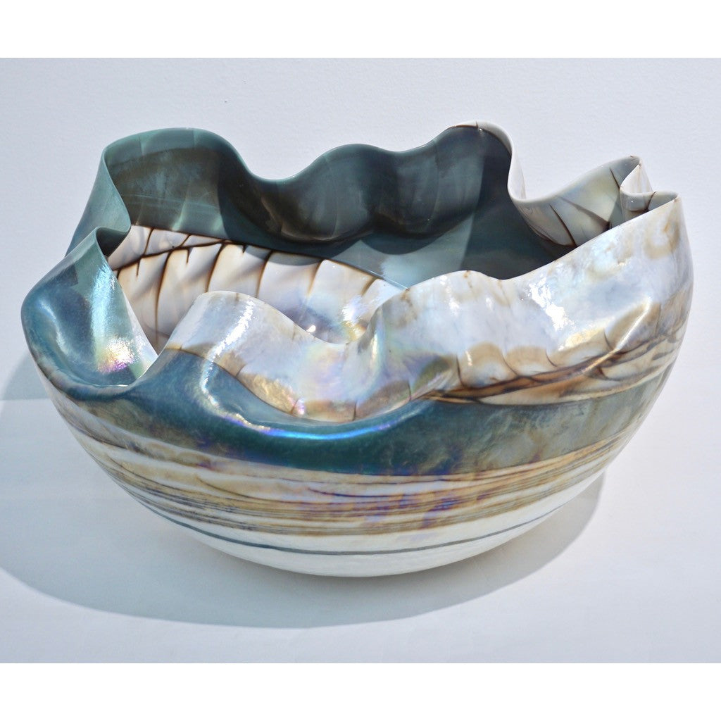Huge Pair of Blue and Mother-of-Pearl White Murano Glass Iridescent Bowls - Cosulich Interiors & Antiques