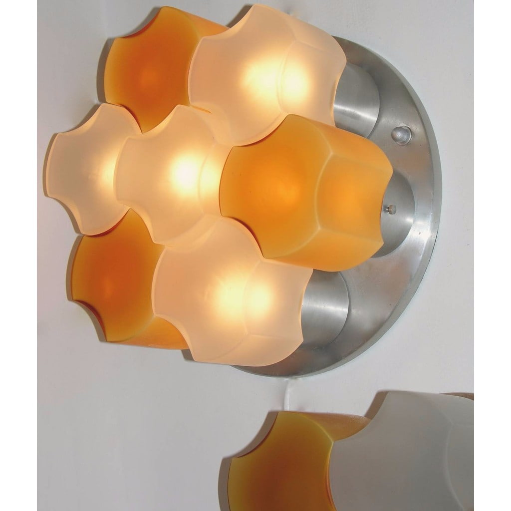 Martinelli Luce 1963 Rare Pair of White and Orange Glass Wall or Flush Lights