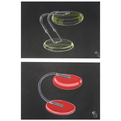 1979 Two Italian Design Drawings for a Desk Light Project by Luciano Mattioli - Cosulich Interiors & Antiques