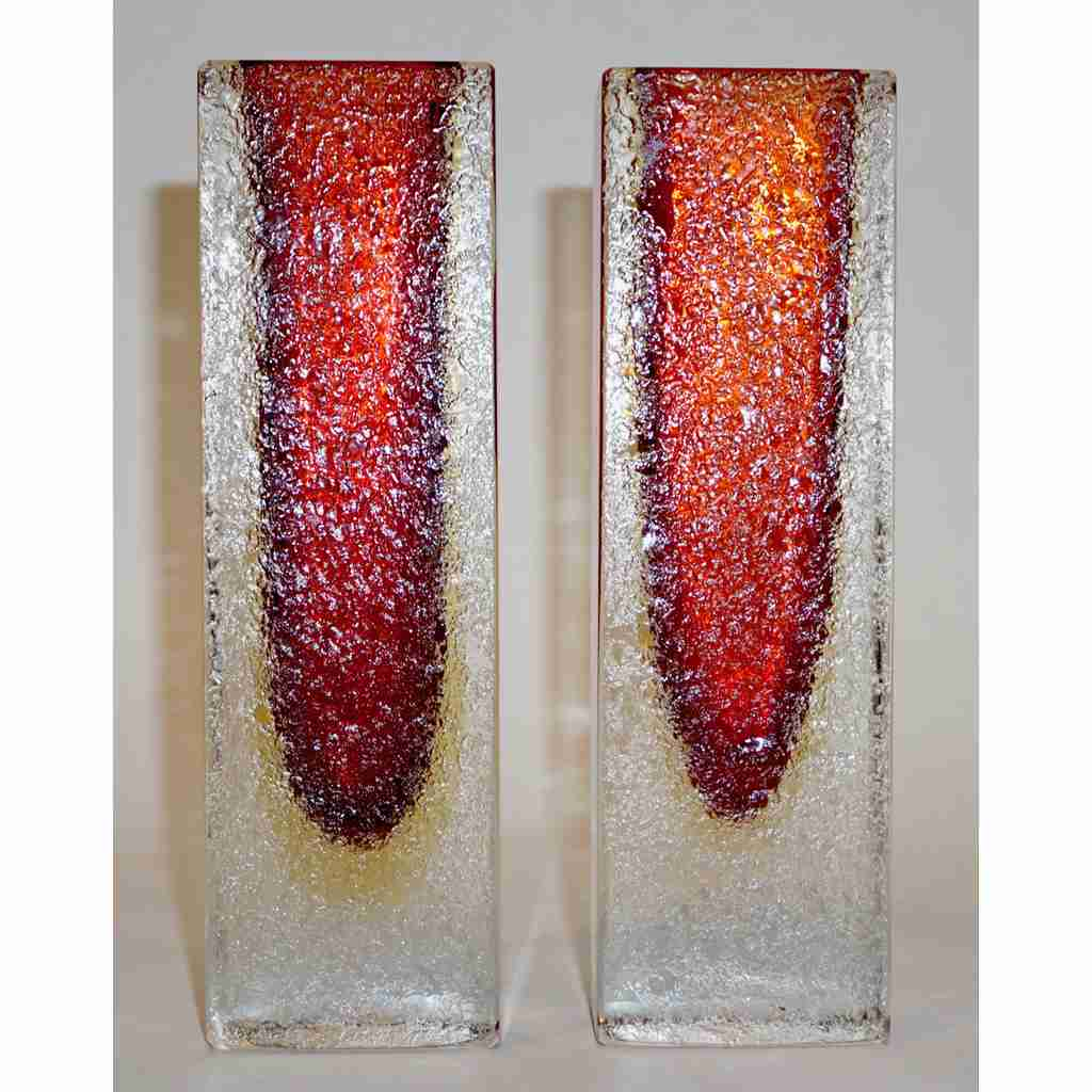 1950 Italian Pair of Organic Crystal, Yellow & Red Murano Art Glass Flower Vases - Cosulich Interiors & Antiques