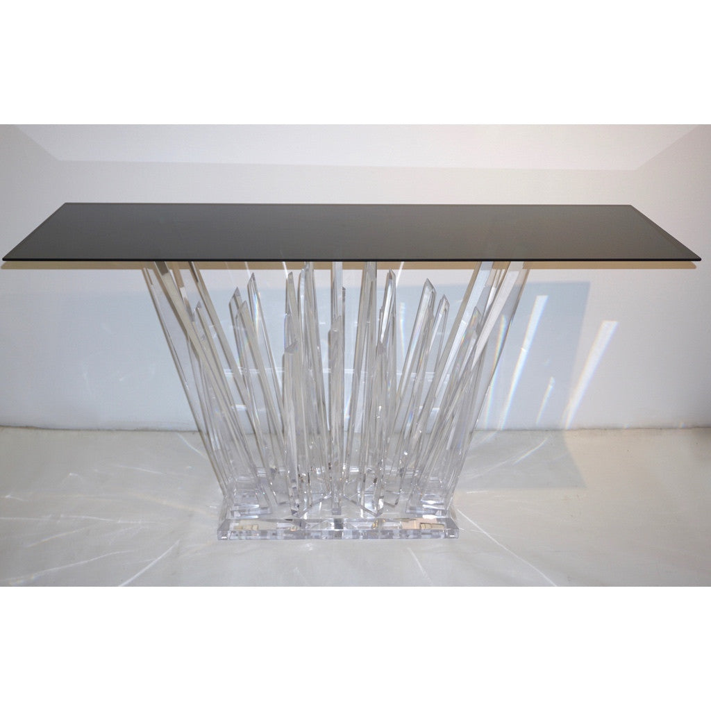 Rock Acrylic Console of Modern Abstract Design with Smoked Black Glass Top - Cosulich Interiors & Antiques