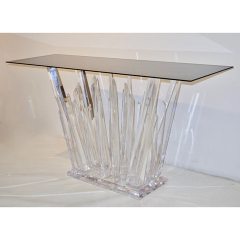 Rock Acrylic Console of Modern Abstract Design with Smoked Black Glass Top