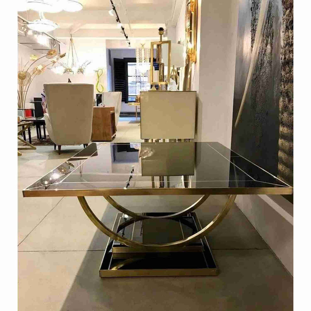 Contemporary Art Deco Italian Black Glass and Brass Coffee Table on Curved Legs - Cosulich Interiors & Antiques