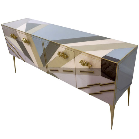 Modern One-of-a-Kind Italian Pop Design Pastel Colored Glass Sideboard / Cabinet