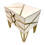Contemporary Pair of Italian Gold Black and White Chests/Nightstands - Cosulich Interiors & Antiques