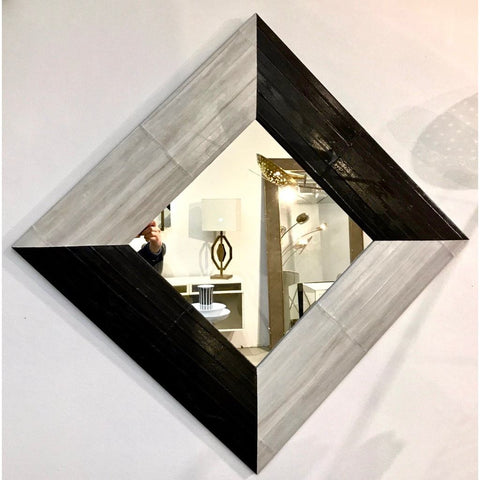 Contemporary Italian Square/Diamond Mirror in Black and Gray White Leather - Cosulich Interiors & Antiques