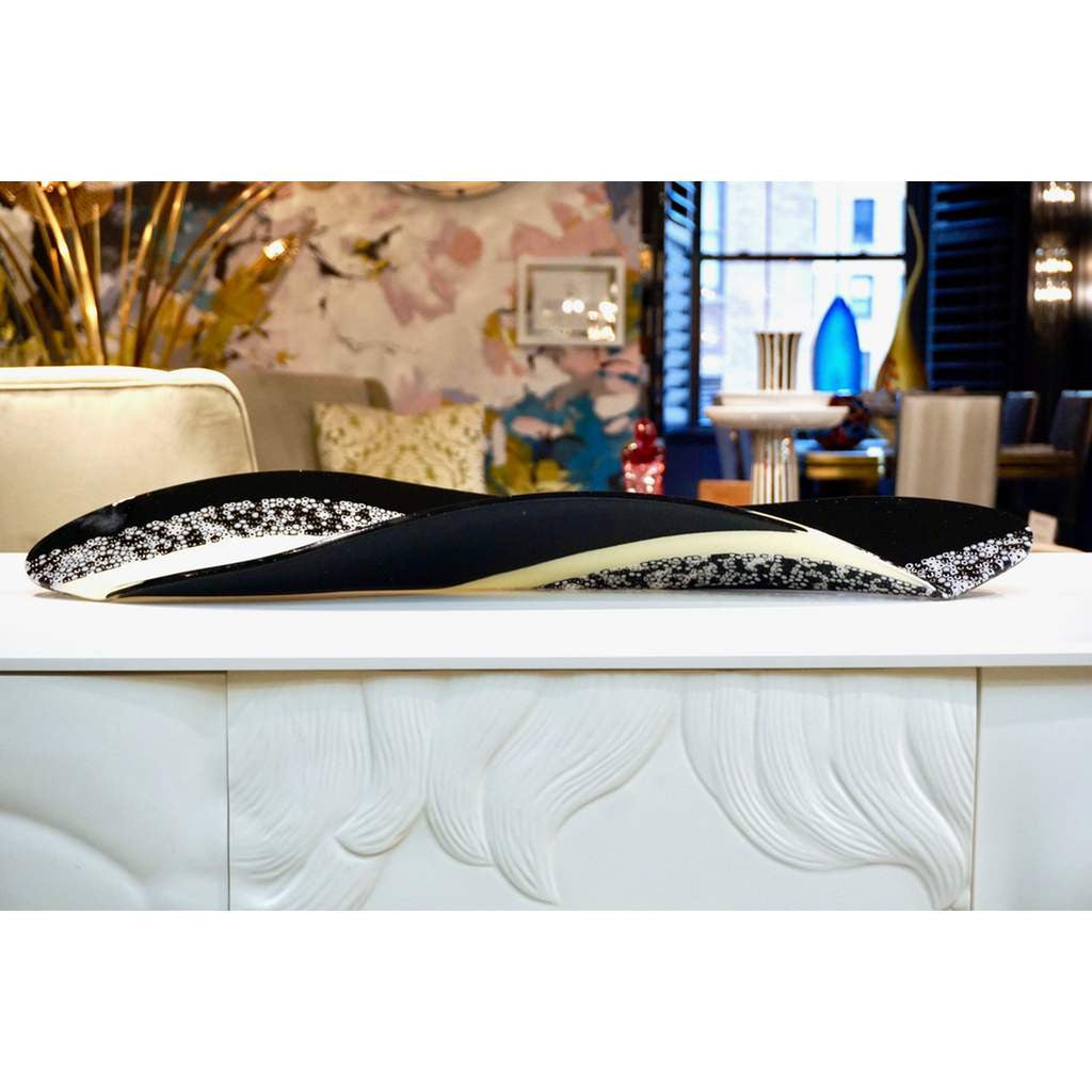 Contemporary Italian Black and White Murano Art Glass Mosaic Curve Centerpiece - Cosulich Interiors & Antiques
