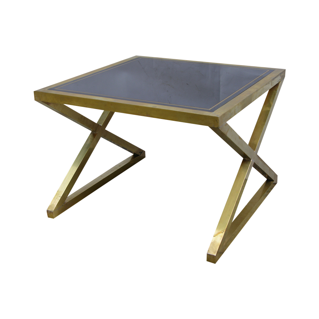 Italian Modern X-Frame Handcrafted Brass and Black Glass Coffee Table