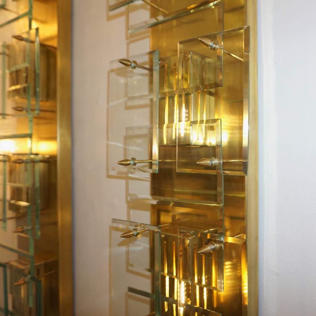 1980s Italian Pair of Modern Gold Brass Monumental Sconces with Aqua Tint Glass - Cosulich Interiors & Antiques