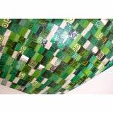 Modern Italian Jewel-Like Green Yellow & 24Kt Gold Murano Art Glass Mosaic Bowl - Cosulich Interiors & Antiques