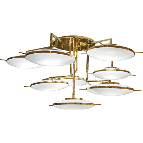 Italian Contemporary Multi Level Brass and White Murano Glass Disk Chandelier - Cosulich Interiors & Antiques