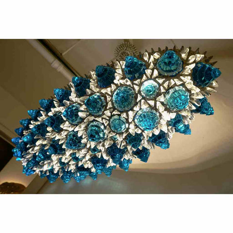 Contemporary Italian Turquoise Blue & Clear Glass Oval Silver Flush/Chandelier - Cosulich Interiors & Antiques