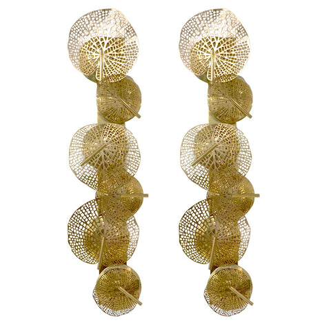 Contemporary Organic Italian Design Pair of Perforated Brass Leaf Sconces