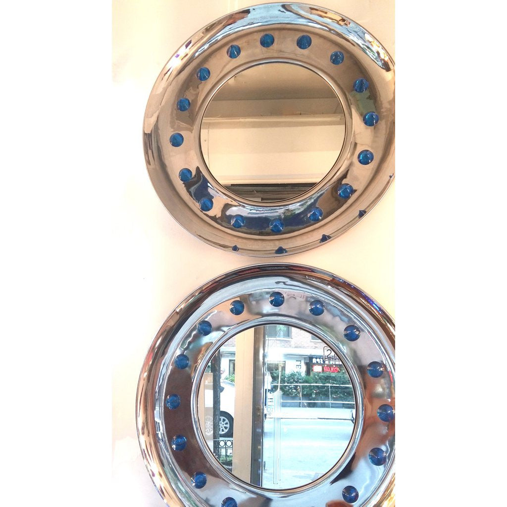 Contemporary Italian Modern Chromed Round Mirror with Jewel Like Blue Glass Spikes - Cosulich Interiors & Antiques