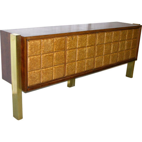 Paolo Buffa 1940s Minimalist Dark & Light Wood Cabinet / Sideboard on Brass Legs - Cosulich Interiors & Antiques