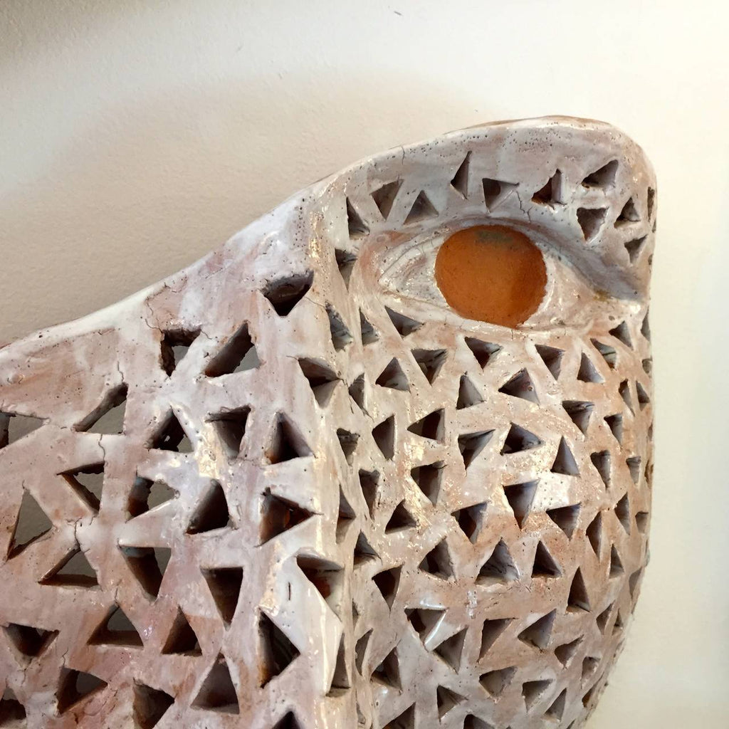 Traforata Face Terra Cotta Lighted Sculpture or Sconce by Ginestroni - Cosulich Interiors & Antiques
