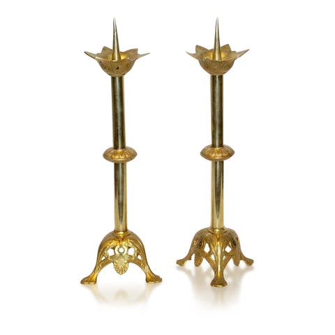 1880s French Baroque Revival Pair of Gilt Bronze Ormolu Candlesticks