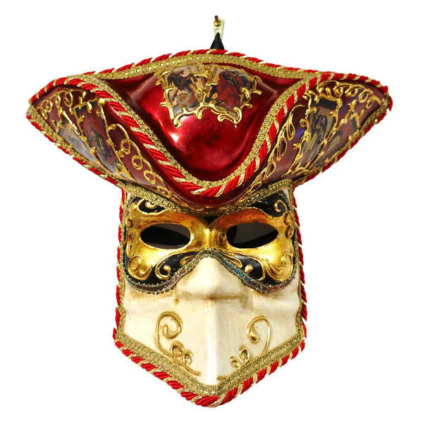 Aqua White And Gold Male Venetian Carnival Mask With Hat