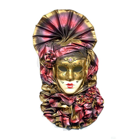 Venetian Handmade Gold and Rose Pink Mask with Flower Pleated Jabot - Cosulich Interiors & Antiques