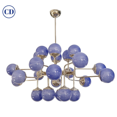 Italian Modern 24-Light Lavender Periwinkle Murano Glass Nickel Chandelier