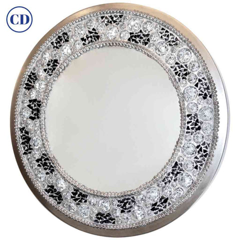 Contemporary Fine Design Italian Lit Black & Clear Rock Crystal Nickel Mirror - Cosulich Interiors & Antiques