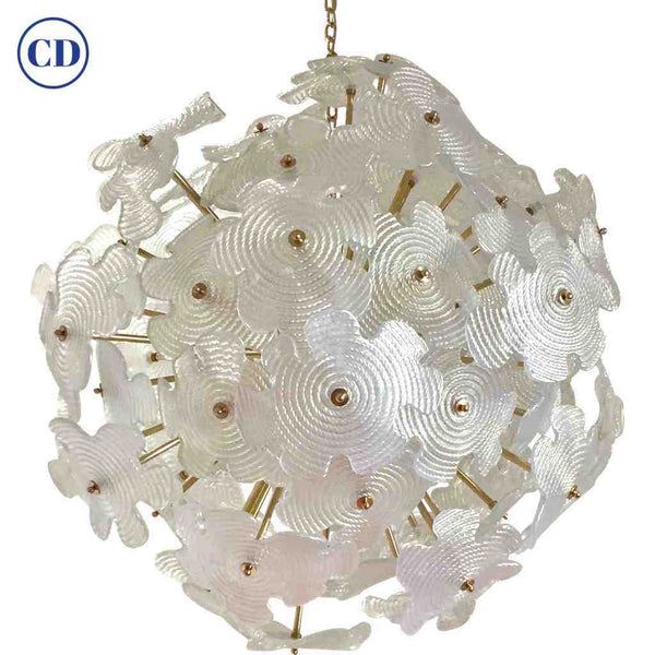 Contemporary Italian Brass & Satin White Murano Glass Flower Sputnik Chandelier