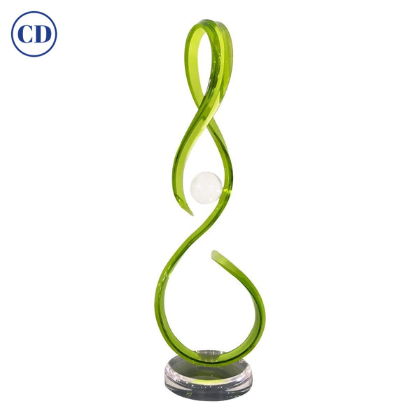 Contemporary Acrylic Sinuous Abstract Sculpture with Scroll Design in Green