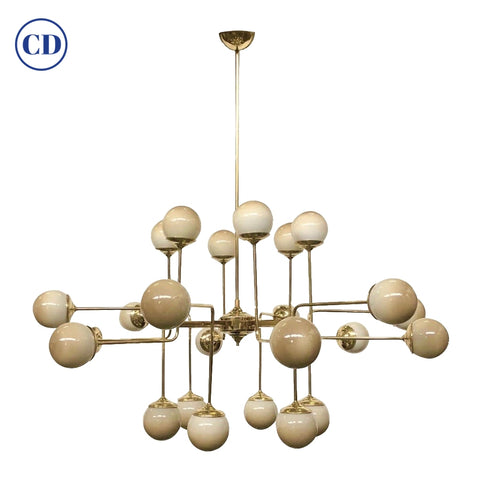 Italian Modern 24-Light Brass & Smoked Ivory Gold Murano Glass Round Chandelier
