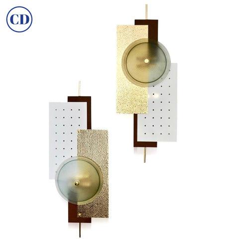 Italian Modernist Gold White & Brown Geometric Textured Metal & Glass Sconces