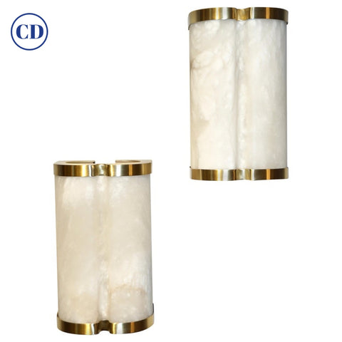 Bespoke Italian Art Deco Style Cream White Alabaster Pair of Brass Edged Sconces