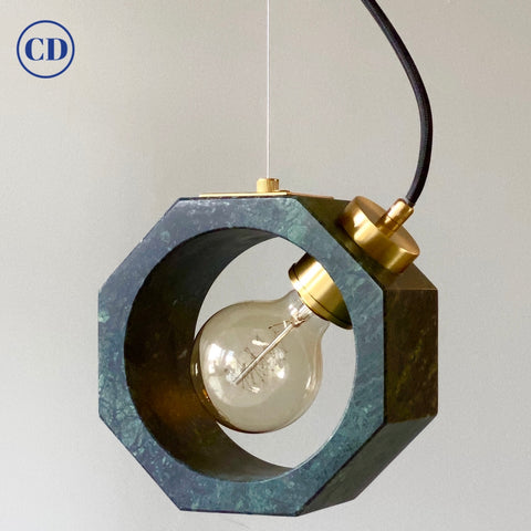 Contemporary Matlight Italian Essential Octagon Minimalist Green Marble Pendant