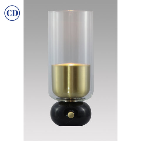 E. Elizarova for Matlight Italian Black Marble Glass and Brass Flute Table Lamp