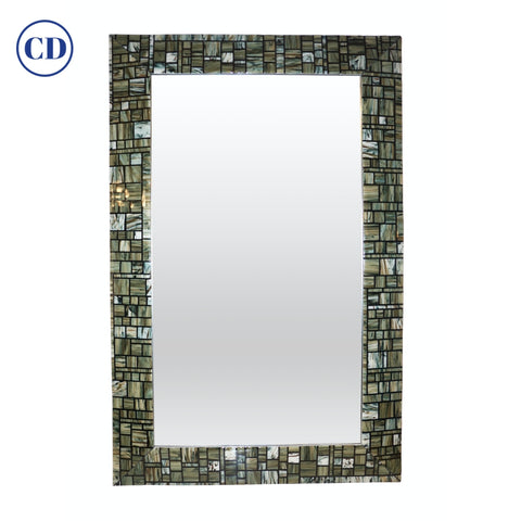 Modern Italian Green Cream Caramel White and Black Murano Glass Mosaic Wall Mirror