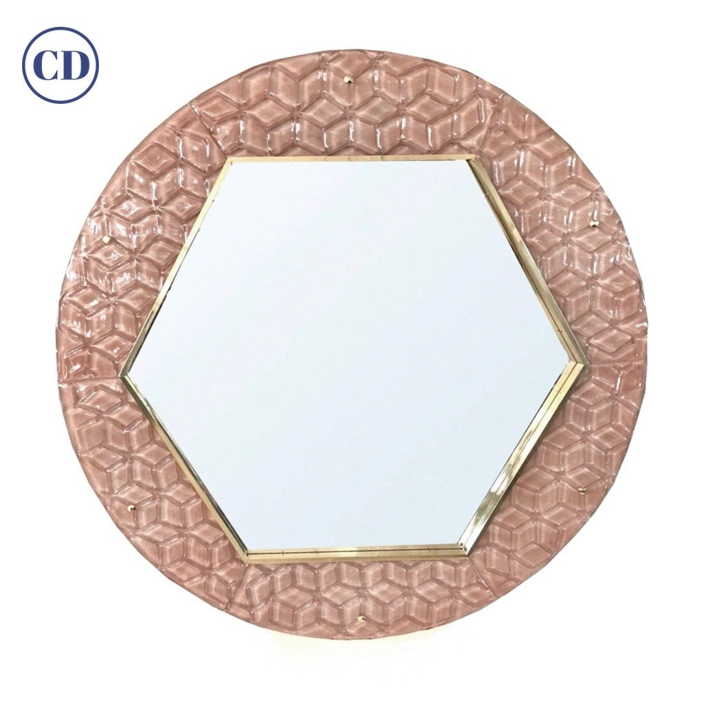 Bespoke Italian Custom Brass and Embossed Pink Murano Glass Modern Round Mirror