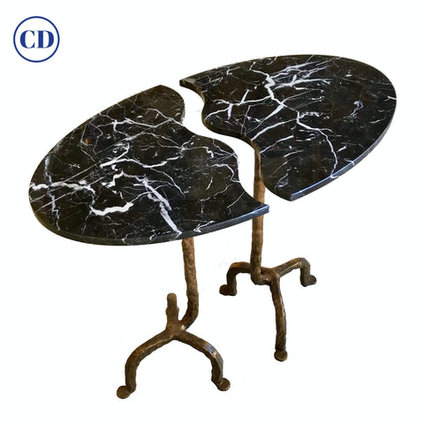 Bespoke Matlight Italian Cast Bronze & Marble OVal Side Table Doubles as a Pair