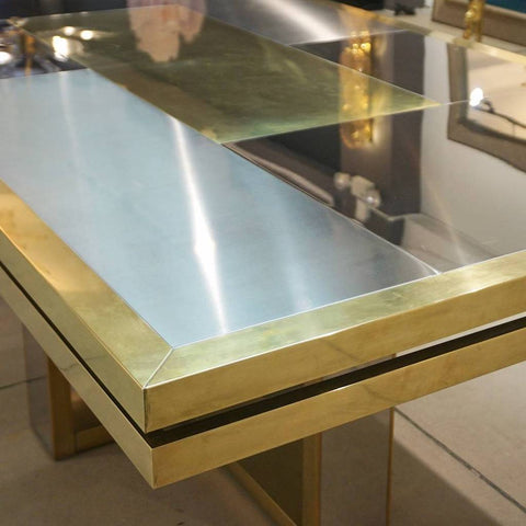 1970s Italian Brass Satin and Chrome Geometric Large Table of Linear Design