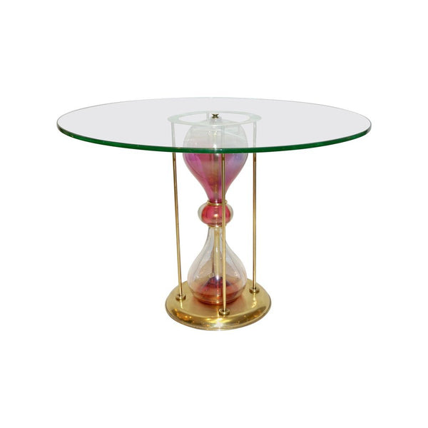 Seguso Vetri d'Arte, 1960s Italian Brass and Pink Glass Round Side/End Table - Cosulich Interiors & Antiques