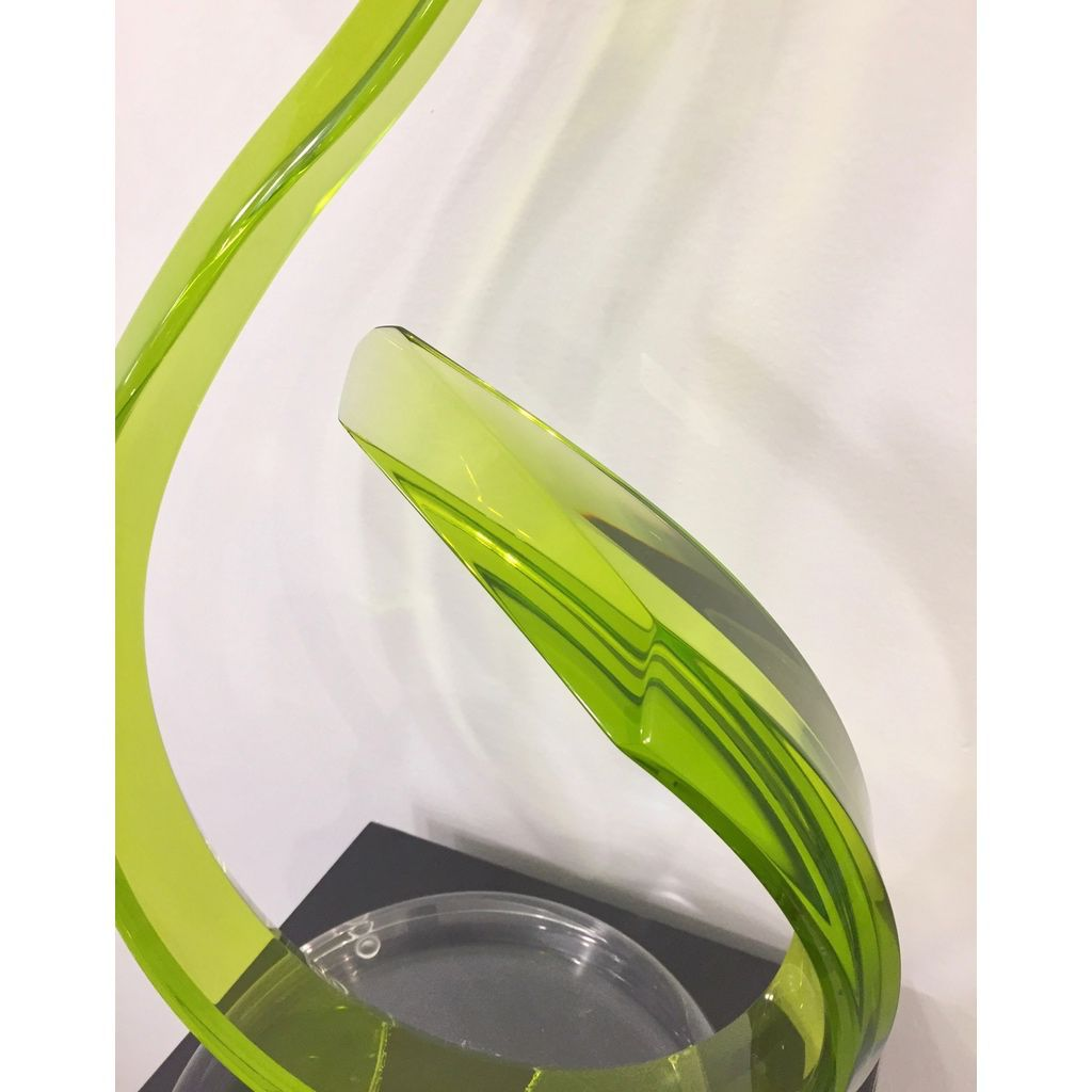 Contemporary Acrylic Sinuous Abstract Sculpture with Scroll Design in Green - Cosulich Interiors & Antiques