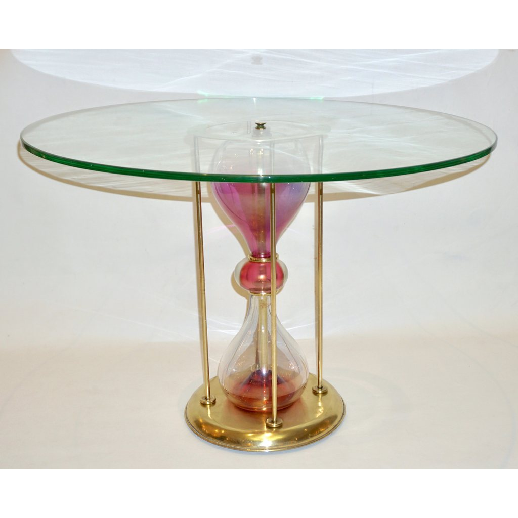 Seguso Vetri d'Arte, 1960s Italian Brass and Pink Glass Round Side/End Table