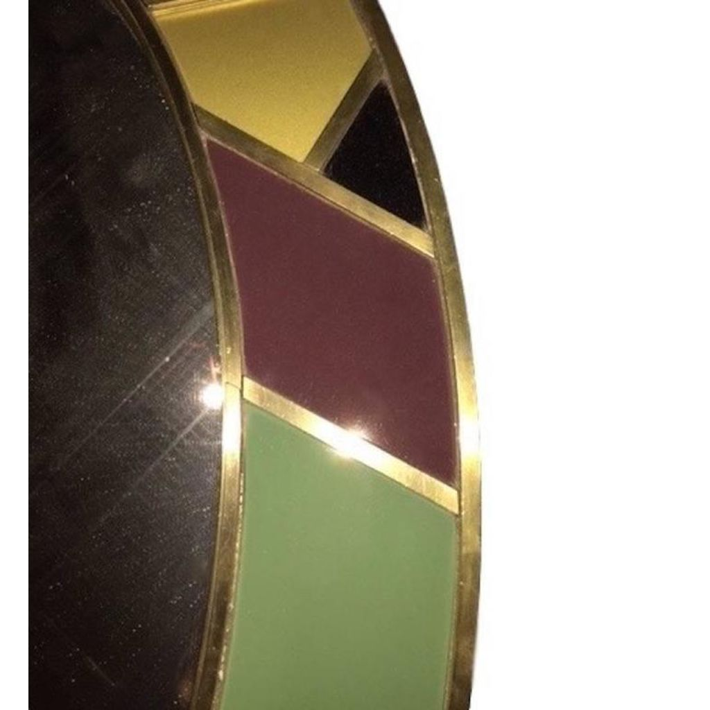 1970s Italian Modern Oval Mirror in Green Grey Blue Yellow Black White and Brass - Cosulich Interiors & Antiques