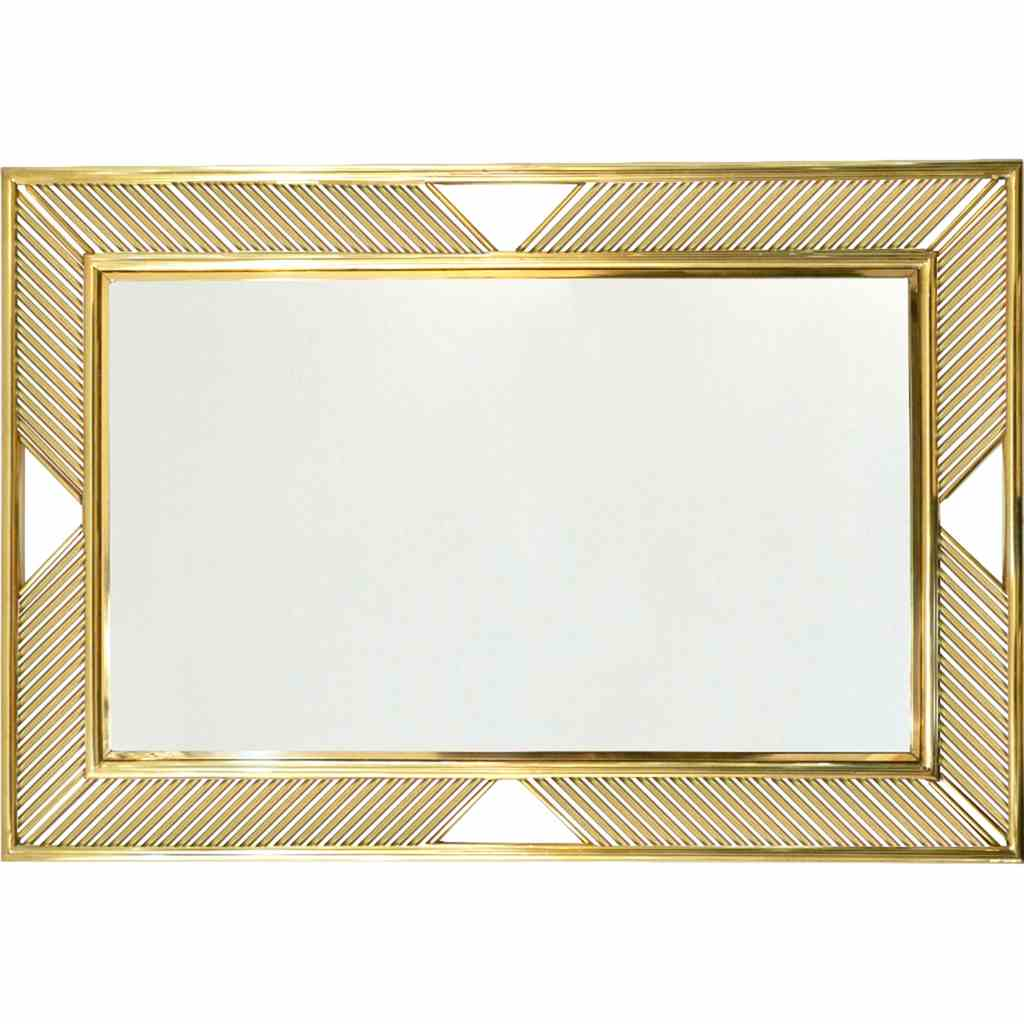 Contemporary Minimalist Italian Gold Brass Wall Mirror with Modern Baguette Fretwork