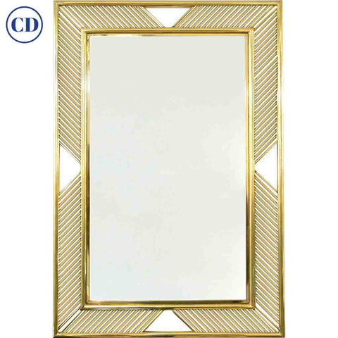 Contemporary Minimalist Italian Gold Brass Mirror with Modern Baguette Fretwork