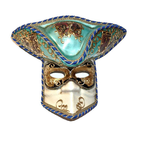 Aqua White and Gold Male Venetian Carnival Mask with Hat - Cosulich Interiors & Antiques